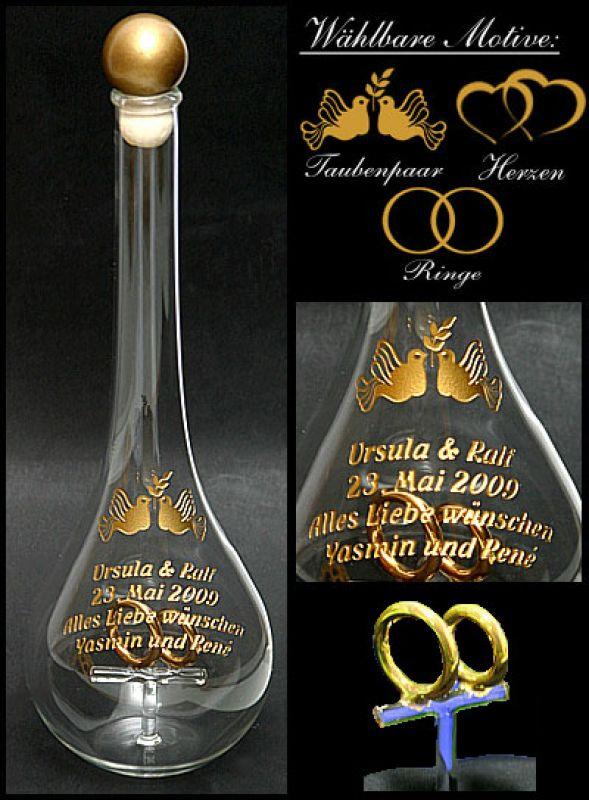 Edelglasflasche mit vergoldeten Ringen als Hochzeitsgeschenk