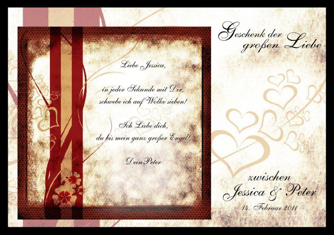 Romantischer Liebesbrief als Liebesgeschenk